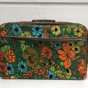 Vintage Floral Tapestry Suitcase Carryall